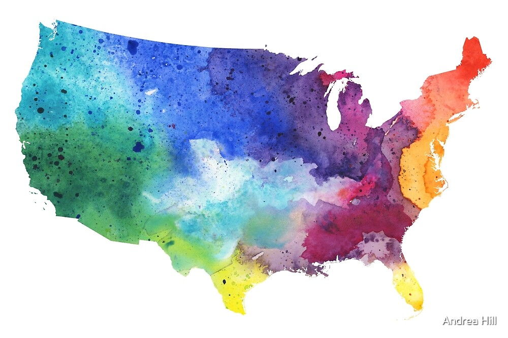 Map of the United States with Watercolor Texture in Rainbow Colors by Andrea Hill