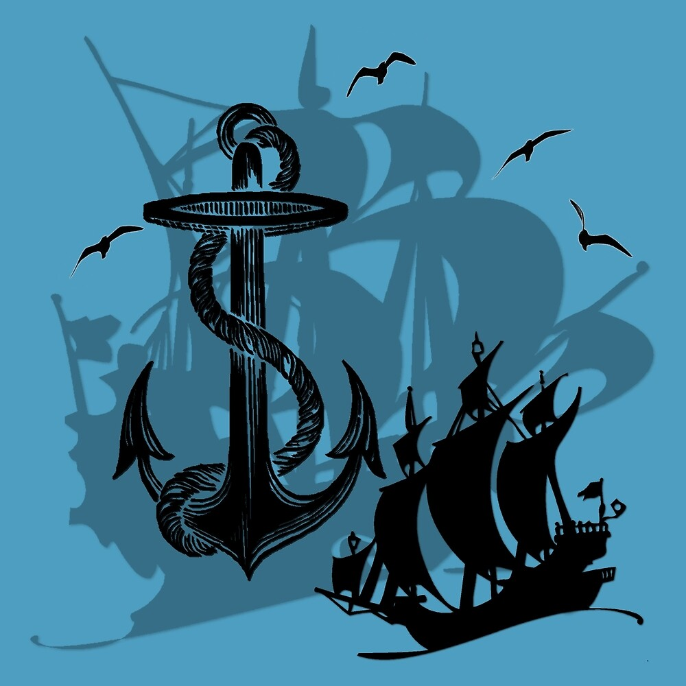 Pirate Ships & Anchor Black Silhouette by HavenDesign
