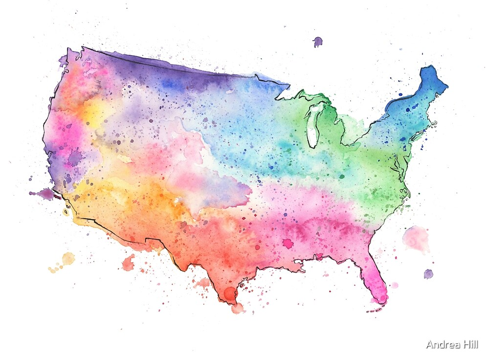 Multicolor Map of the United States with Watercolor Texture  by Andrea Hill