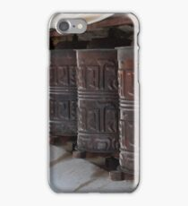 Buddhist prayer wheels in Nepal iPhone Case/Skin