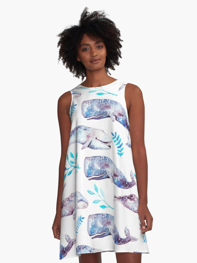 Whales A-Line Dress Front