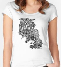 Dragon Cat Pattern Light Women's Fitted Scoop T-Shirt