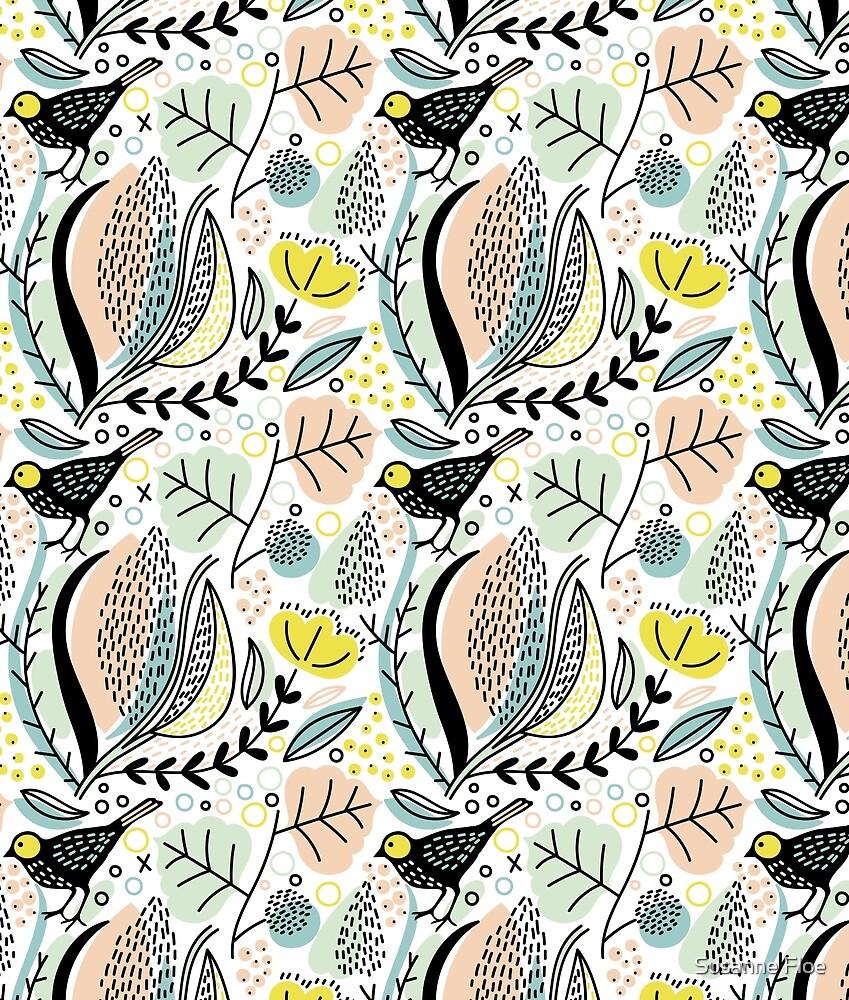 Birds and Flower Pattern IV by Susanne Floe