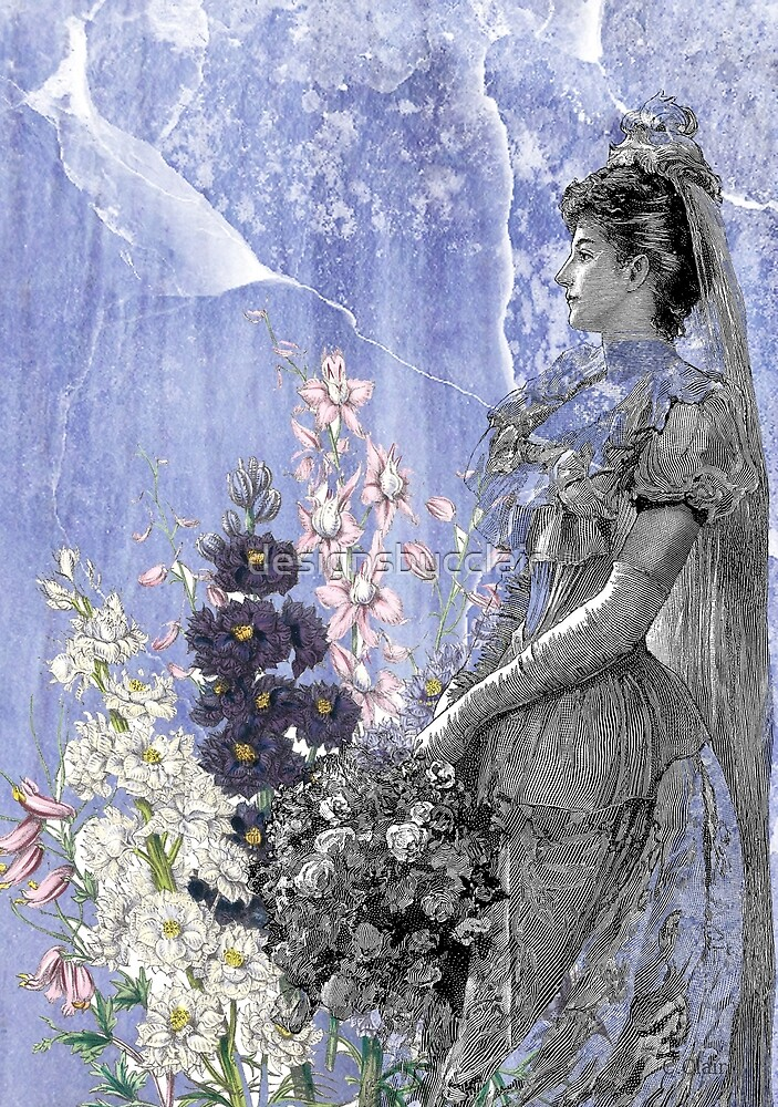 Lavender Purple Victorian Flowers Bride Woman by designsbycclair
