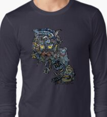 Dragon Cat Color on Faded Mint Blue Pattern T-Shirt