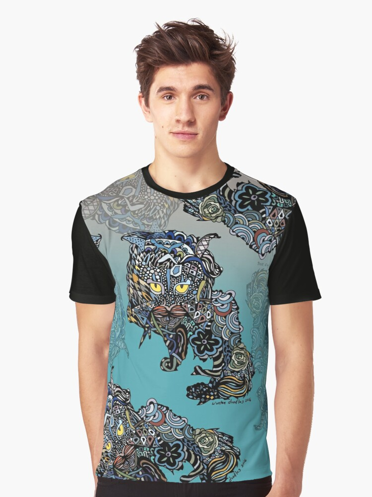 Dragon Cat Color on Faded Mint Blue Pattern Graphic T-Shirt Front