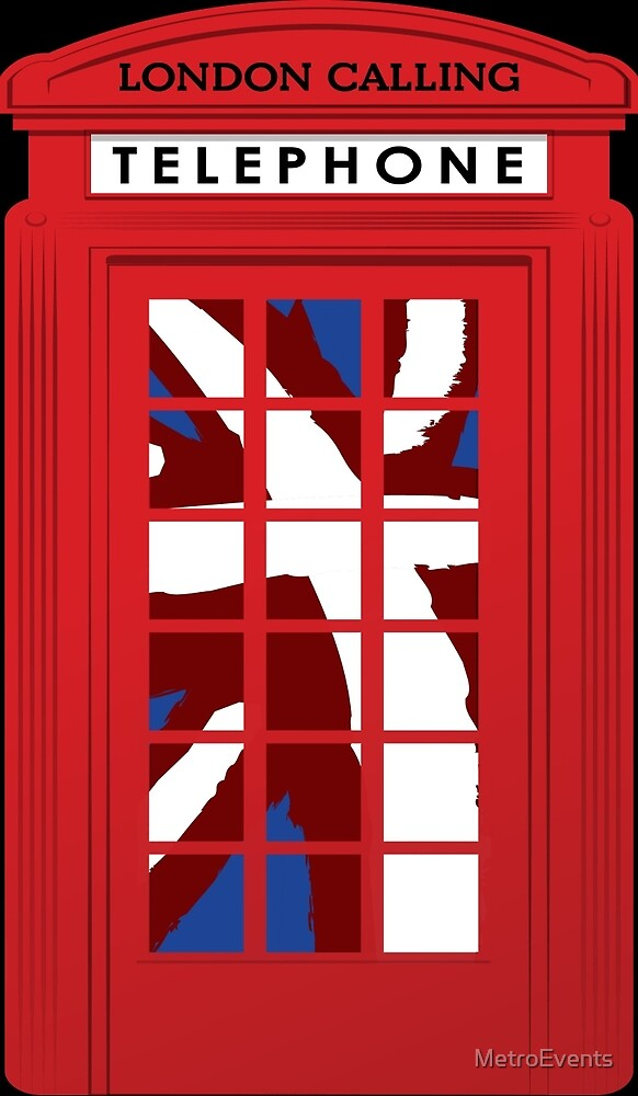 London Calling, Vintage Phone Booth, Union Jack by MetroEvents