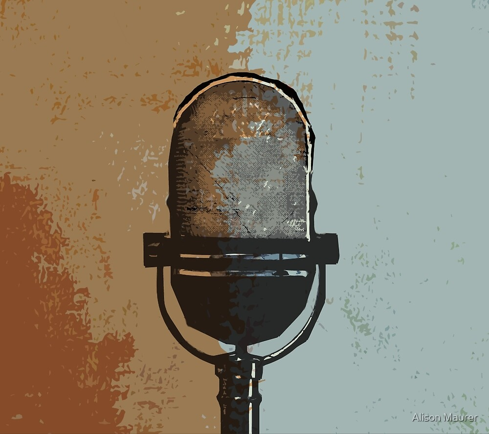 Retro Relic Digital Art Vintage Microphone by sodaartstudio