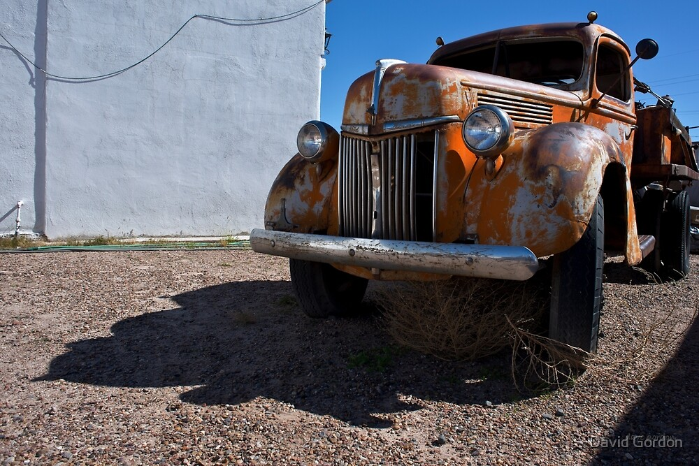 Old Vehicle VII  BW - Ford Truck Color by David Gordon