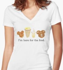 Here for the food. Women's Fitted V-Neck T-Shirt