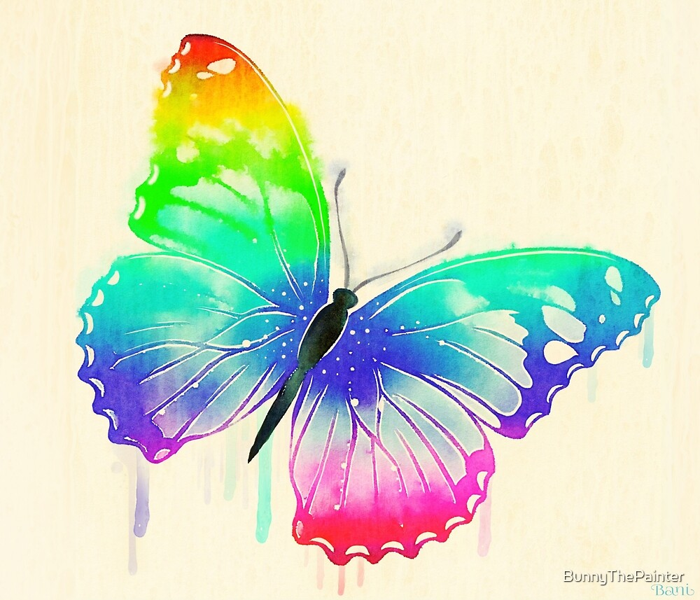 Rainbow Washed Butterfly by BunnyThePainter