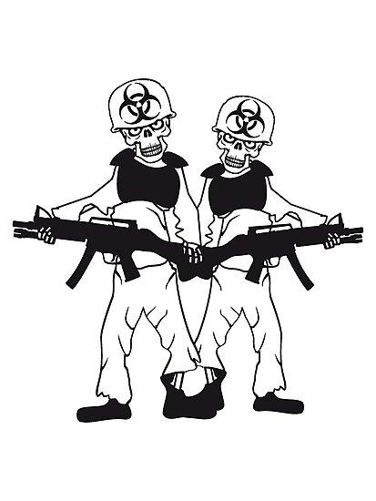 2 Soldiers Machine Gun Horror Army Helmet War Zombie Skeleton Evil