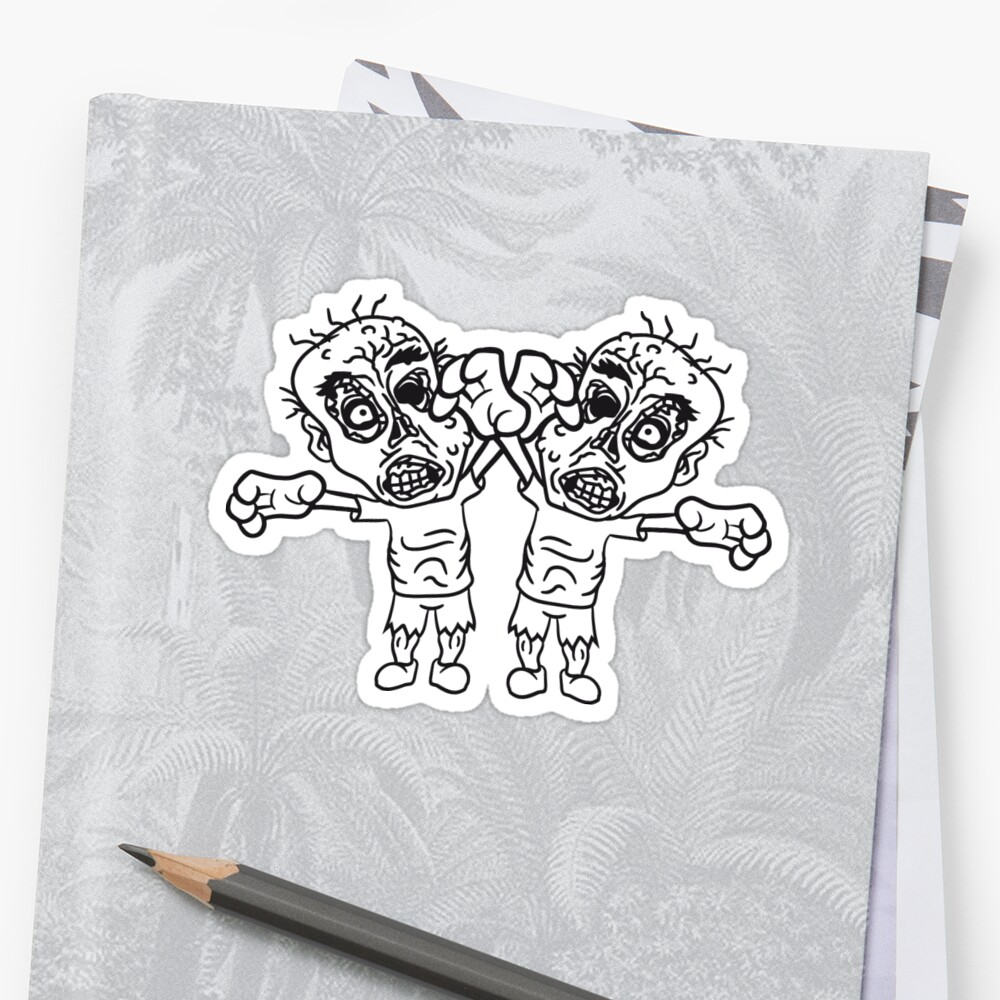 2 friends team party zombies evil disgusting monster horror halloween zombie design by Motiv-Lady