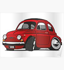 Fiat 500R caricature red Poster