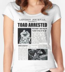 Toad Arrested Newspaper Women's Fitted Scoop T-Shirt