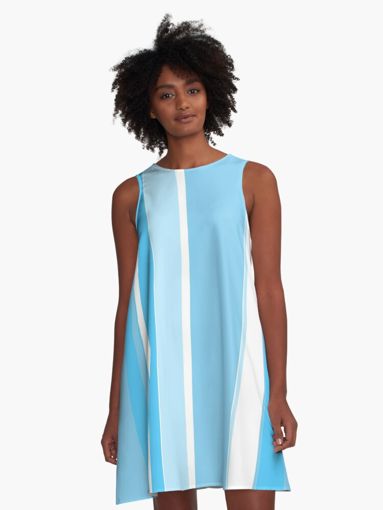 blue and white stripes A-Line Dress Front