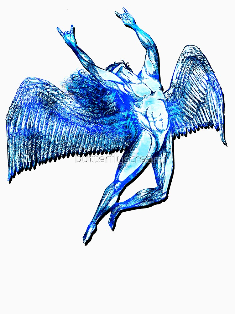 ICARUS THROWS THE HORNS - bright blue ***FAV ICARUS GONE? SEE BELOW*** by butterflyscream