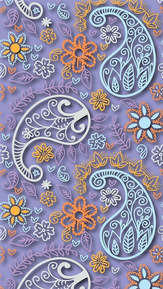 Pastel Paisley Bohemian Floral Pattern by Vicky Brago-Mitchell