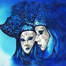 Blue and White Masks by Sherry Cummings