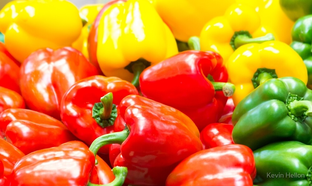 Colourful capsicums by Kevin Hellon