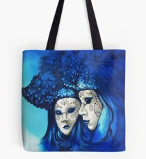 Blue and White Masks Tote Bag