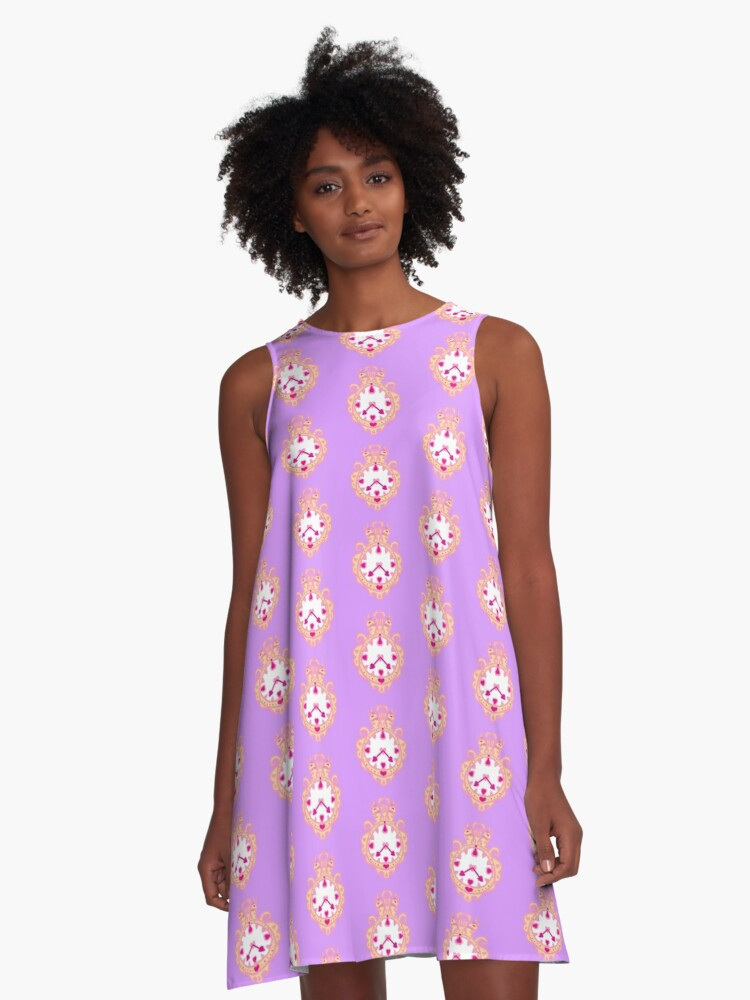 LIKE CLOCK WORK(GOLD AND PURPLE) A-Line Dress Front