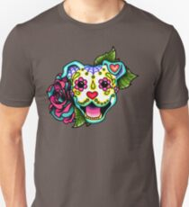 Smiling Pit Bull in White - Day of the Dead Pitbull - Sugar Skull Dog T-Shirt