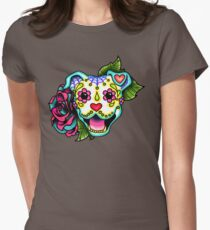 Smiling Pit Bull in White - Day of the Dead Pitbull - Sugar Skull Dog Women's Fitted T-Shirt