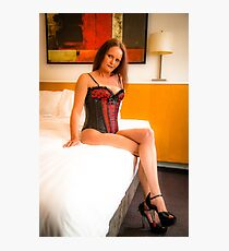 Red and black corset and g string. Photographic Print