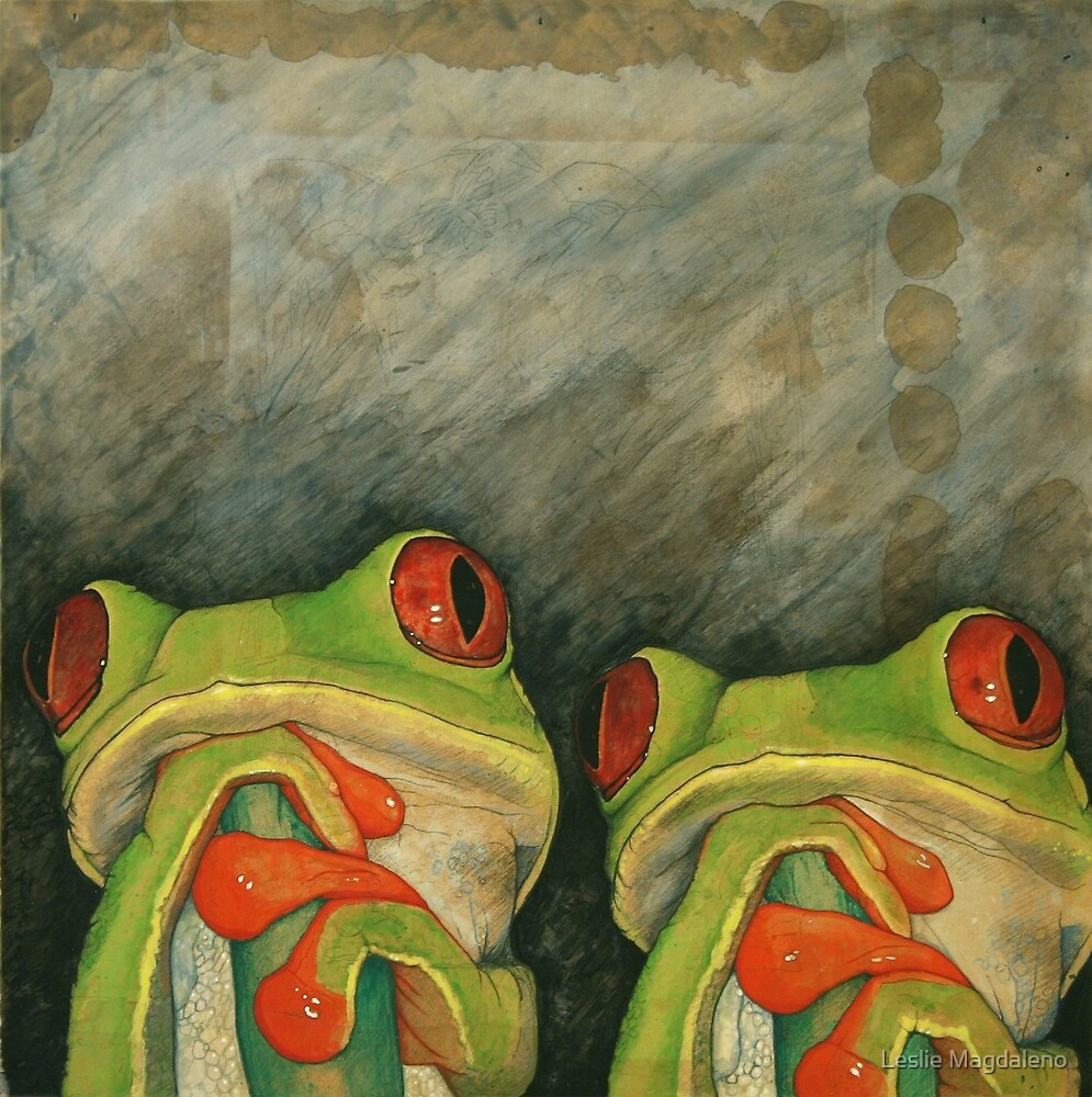 Two Green Treefrogs by Leslie Magdaleno
