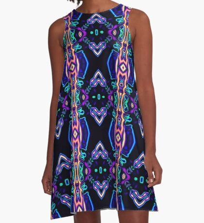 Tribal Visions Geometric Abstract Pattern 5 A-Line Dress