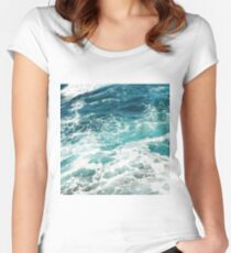 Blue Ocean Waves  Women's Fitted Scoop T-Shirt