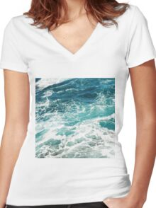 Blue Ocean Waves  Women's Fitted V-Neck T-Shirt