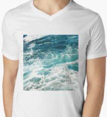 Blue Ocean Waves  V-Neck T-Shirt