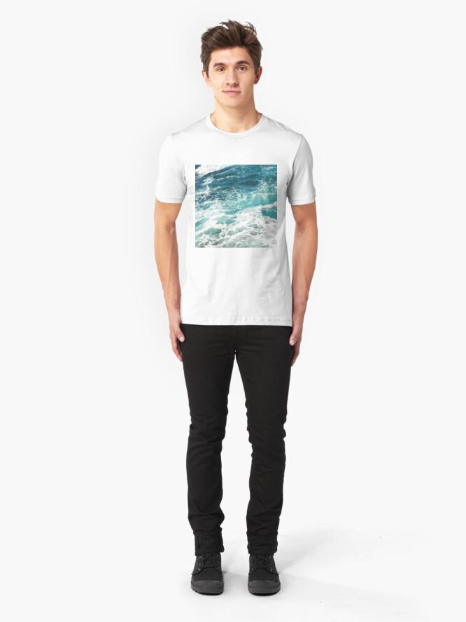 Alternate view of Blue Ocean Waves  Slim Fit T-Shirt