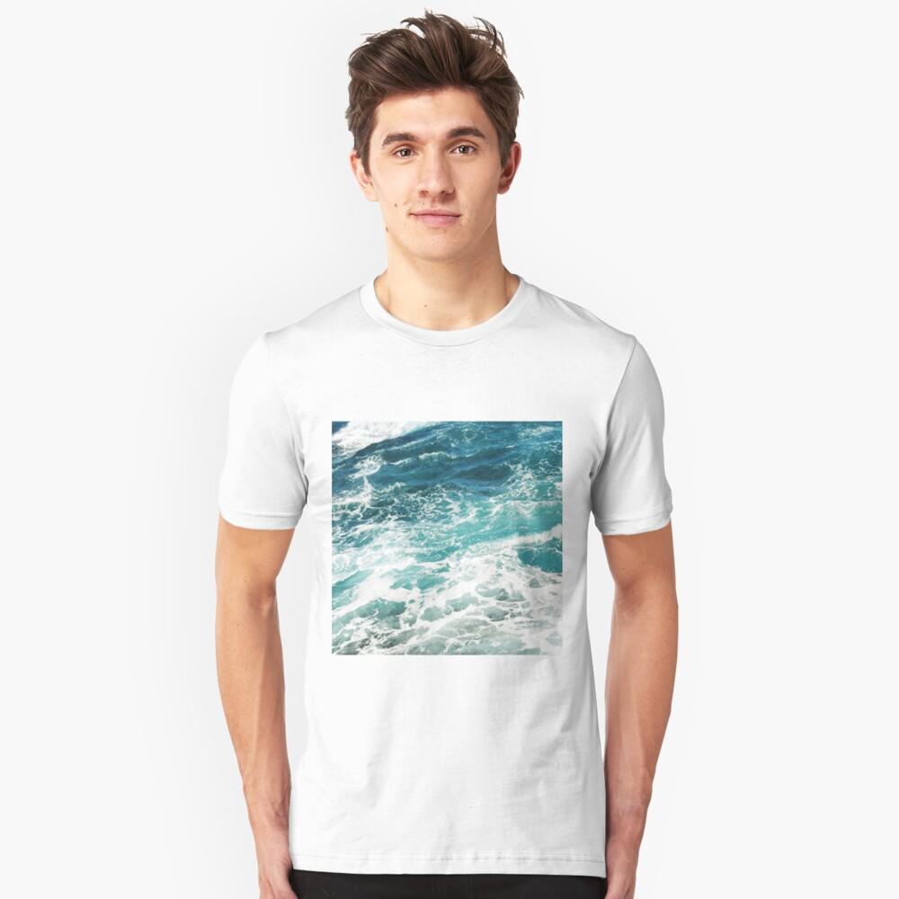 Blue Ocean Waves  Slim Fit T-Shirt