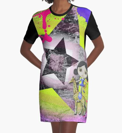 She's a Circus Superstar Graphic T-Shirt Dress