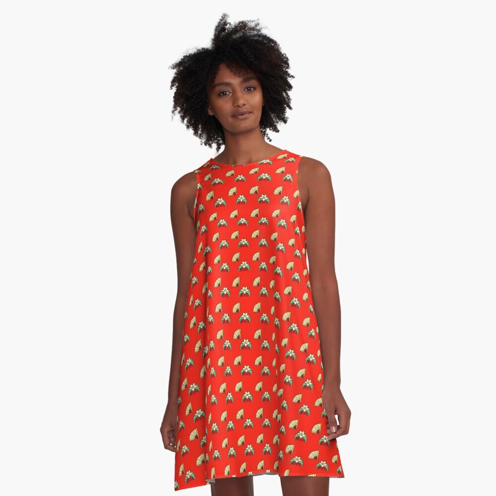 Paper Fan & Matching Comb A-Line Dress
