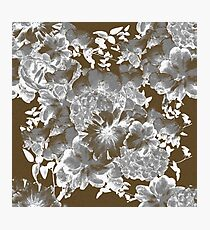 Gray Romantic Floral Print Photographic Print
