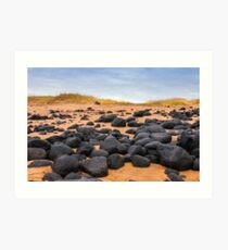Sand beach with black voulcanic rocks in Iceland near Budir - small town on Snaefellsnes peninsula Art Print