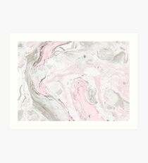 Pink and Gray Marble Print Art Print
