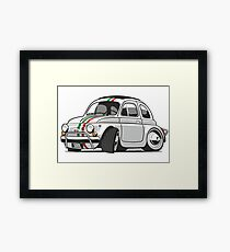 Fiat 500L caricature white Framed Print