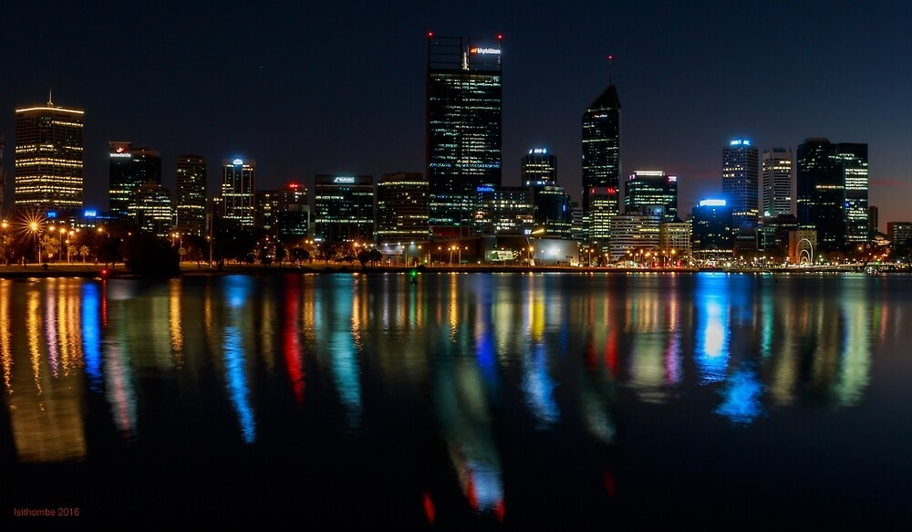 Perth by night over the Swan River by IsithombePhoto