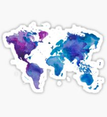 Watercolor Map of the World Sticker