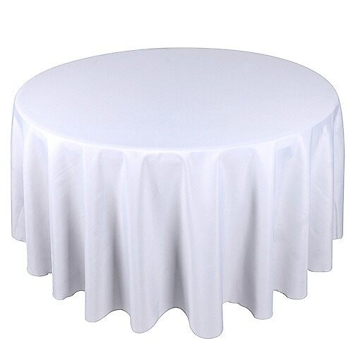White Round Tablecloths by weddinglinen