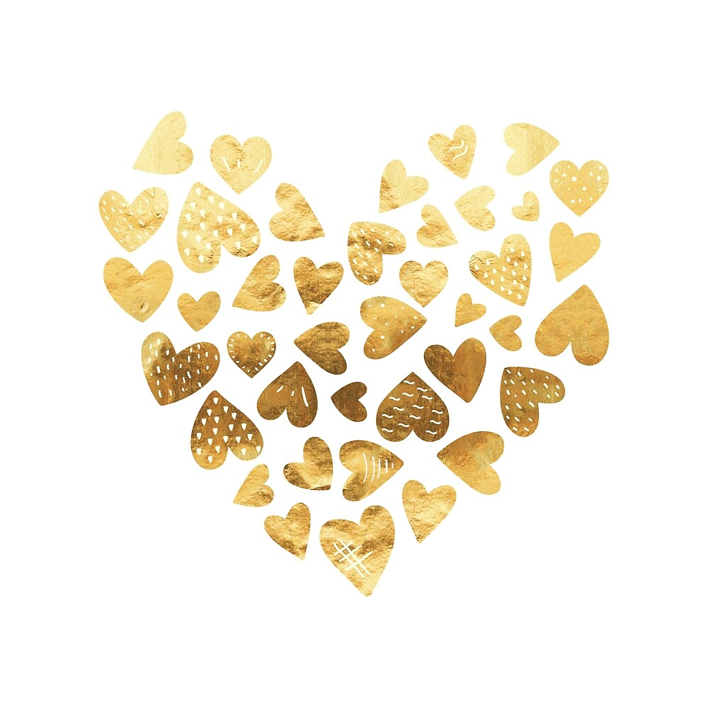 Gold hearts by florawithlove