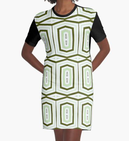 Weave It Green With Shapes Graphic T-Shirt Dress