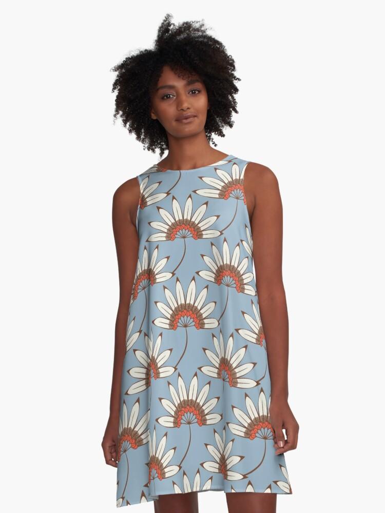 Vintage Art Deco Floral Ornament A-Line Dress Front