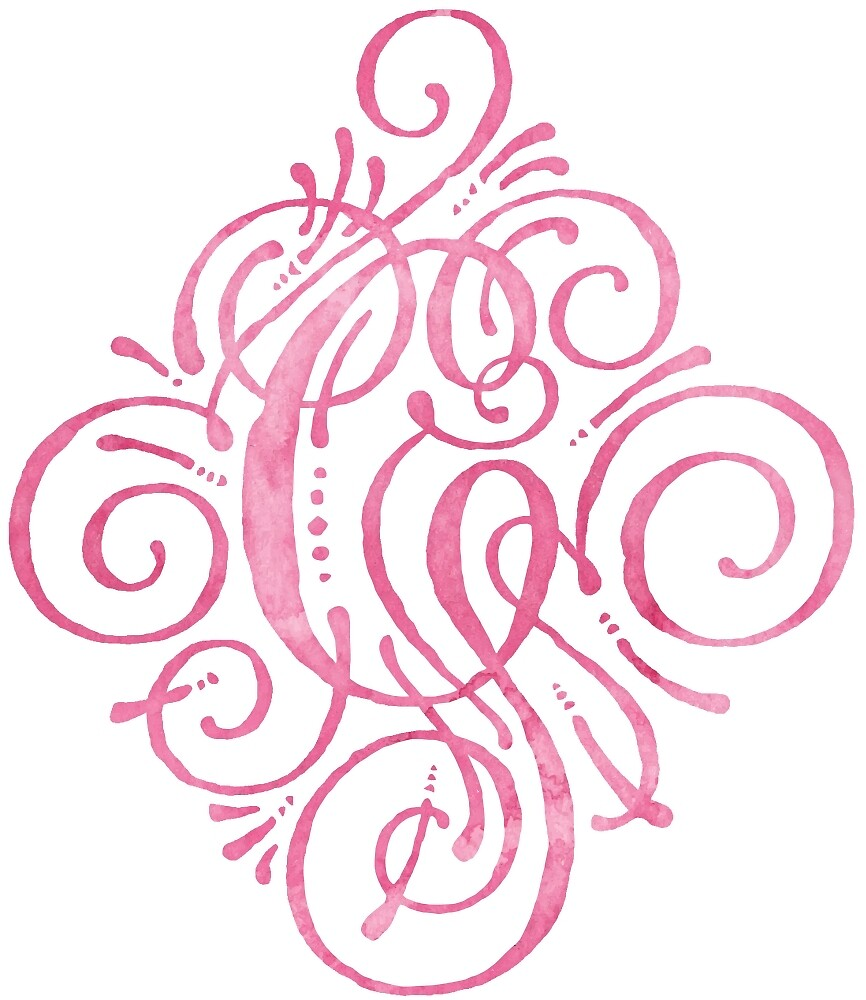 Monogram Watercolor Calligraphy Letter G Pink by junkydotcom