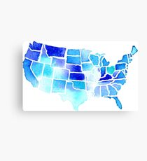 Watercolor United States of America in Blue Canvas Print